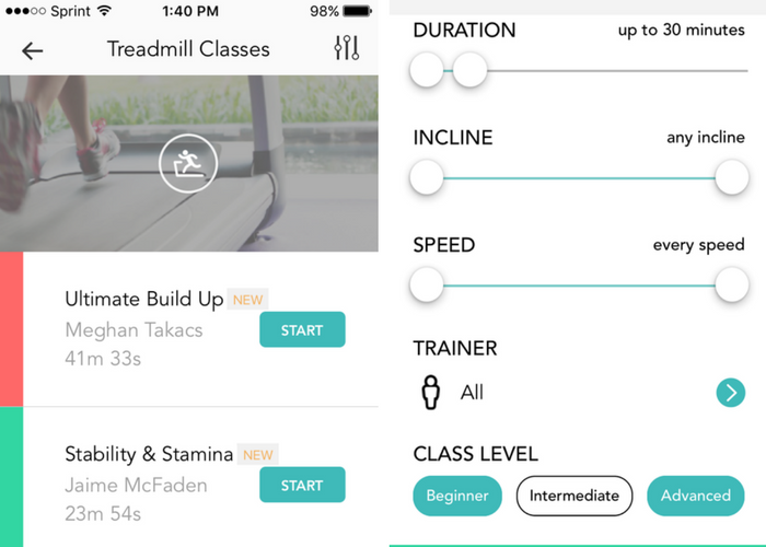 Aaptiv gives you filter options to find the perfect class!