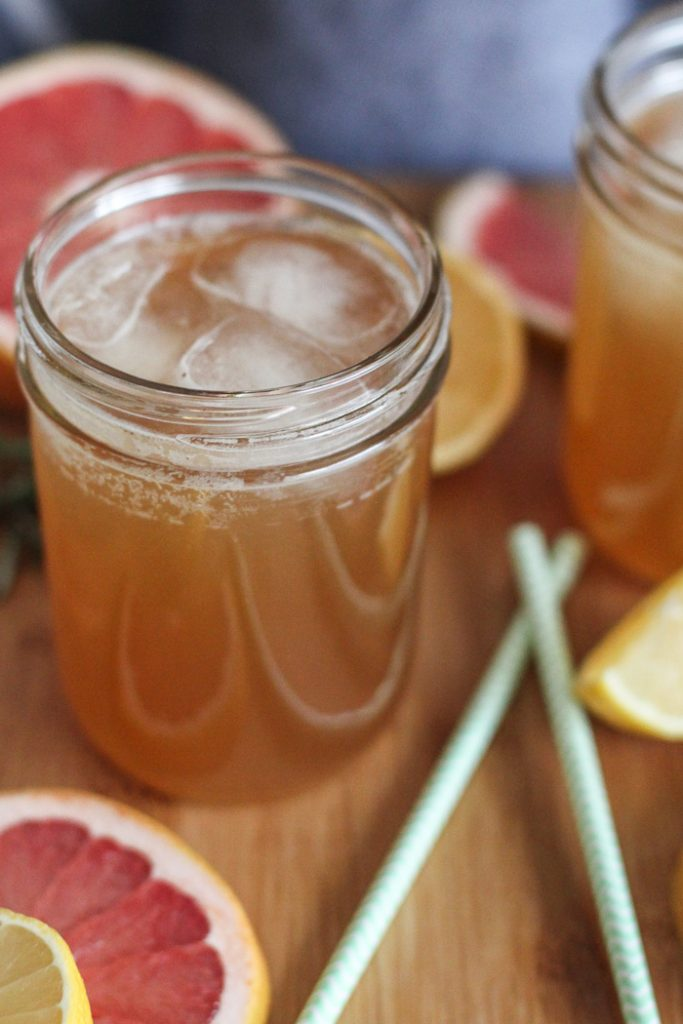 Citrus and rosemary flavored kombucha