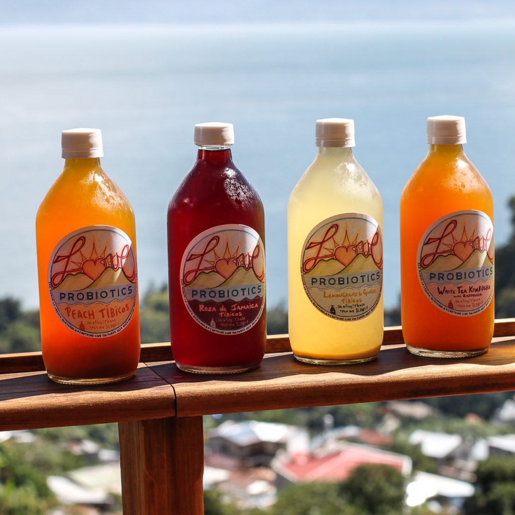 Water kefir and tibicos bottled drinks in Guatemala