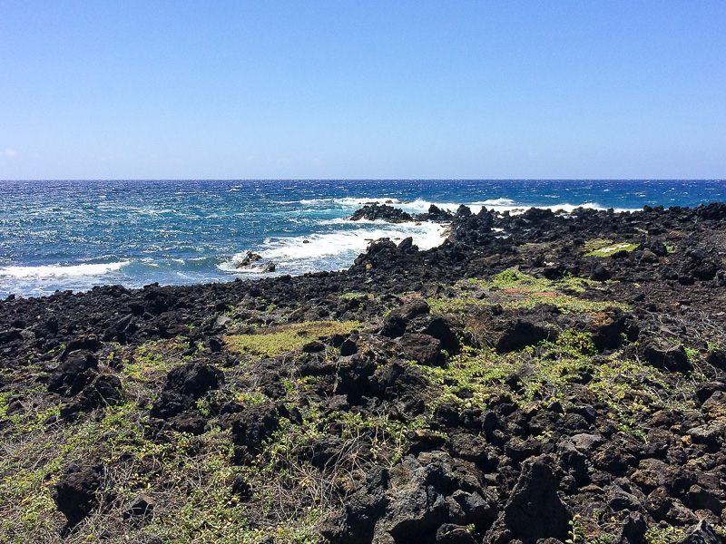 View on the walk to the green sand beach on the Big Island Hawaii