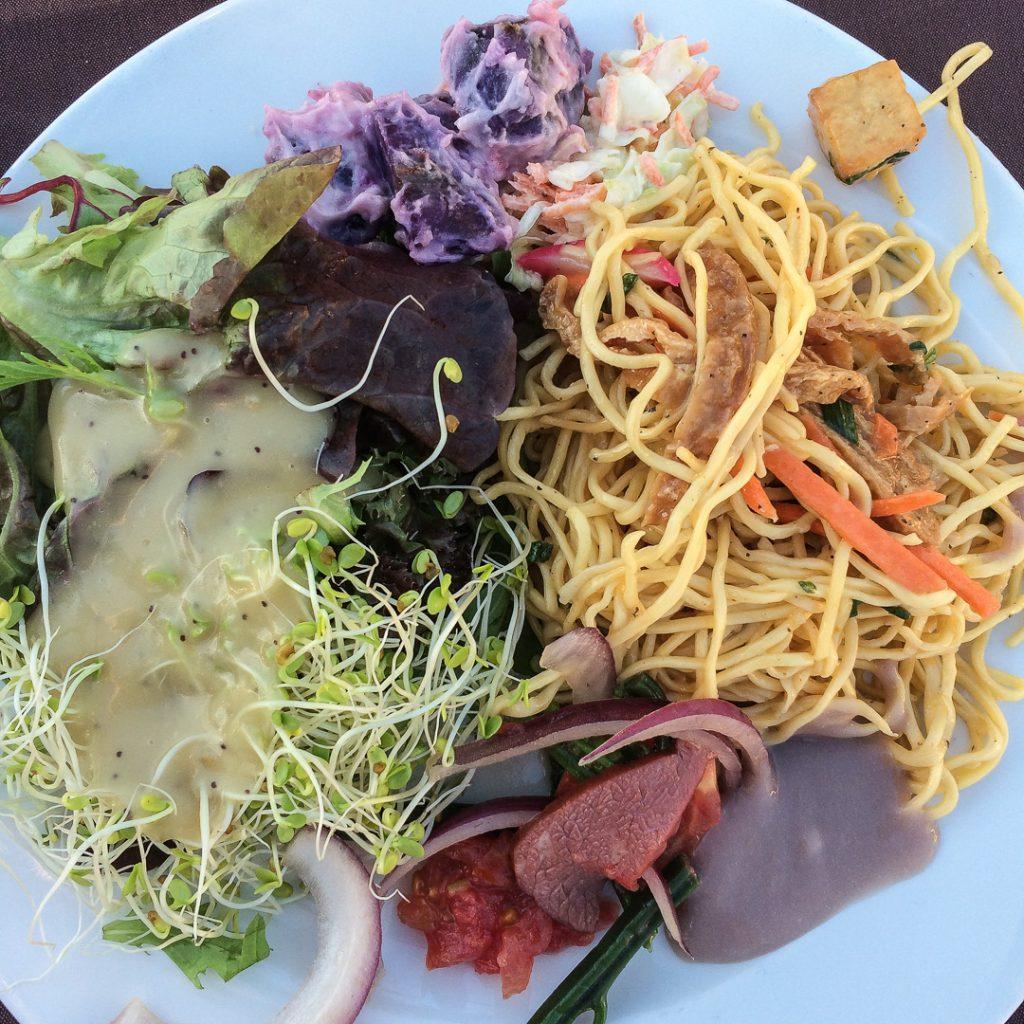 Vegetarian food at Marriott Luau on the Big Island Hawaii