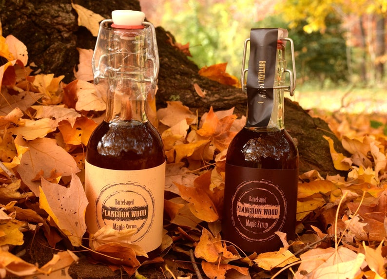 Barrel aged maple syrup gift idea from Etsy