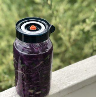 Garlic Scape Sauerkraut with Purple Cabbage